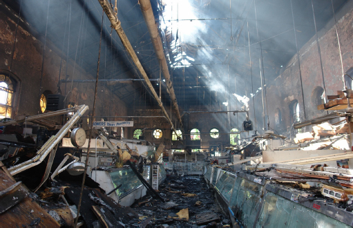 Interior of Eastern Market post fire 2007. Debris covers from floor to ceiling.