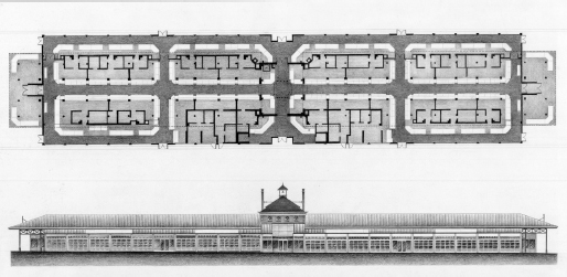 Floor plan and elevation drawing of renovated market building. Two views shown, one aerial and one from the side.