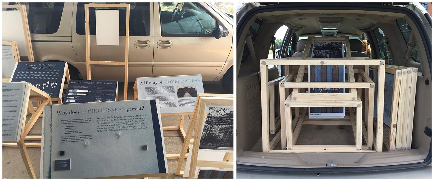 Wooden exhibit structures nestled, stacked, and loaded into a minivan.