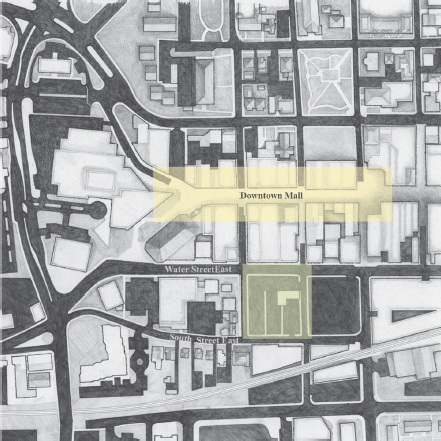 Overview map of Charlottesville city grid, showing the downtown mall's 1 block proximity to the City Market.