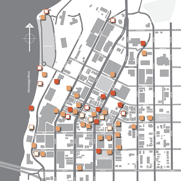 Map of downtown La Crosse with markers indicating where the stories are located.