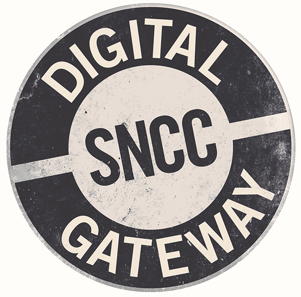 "Blue and white circular button with the words ""SNCC Digital Gateway""."