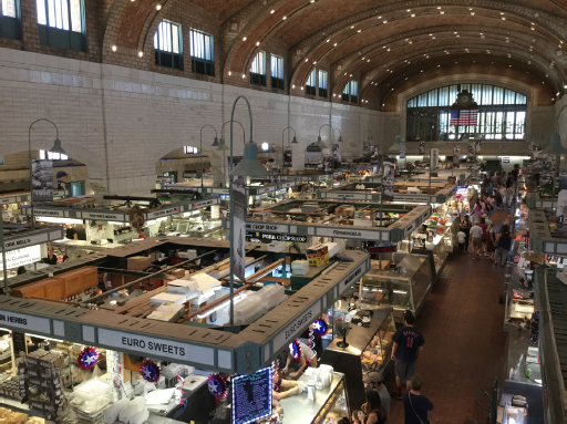 An overhead shot of Cleveland's West Side Market. Lots of lit up vendor booths