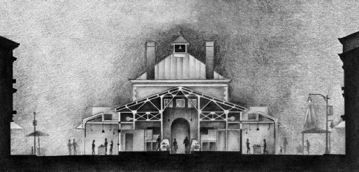 Cross Section of Findlay Market plan. Drawing of the front of the market building.
