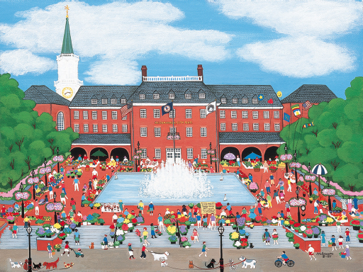 A painting of Patricia Palermino of large brick building with a fountain pool in front and people steps on the steps surrounding the building.