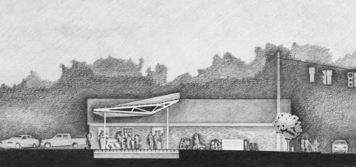 Cross sectional drawing of pavilion.
