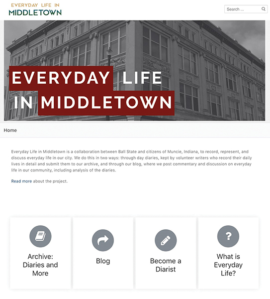 Homepage for Everyday Life in Middletown, showing links to the archive, blog, diarist recruiting, and 'What is Everyday Life' pages.