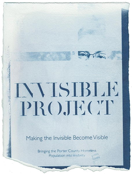 "Blue and white cyanotype design with eyes, ""Invisible Project"" title, and ""Making the Invisible Become Visible"" subtitle."