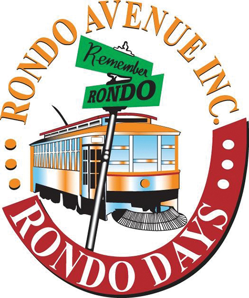 Red and yellow circular logo picturing a streetcar and a street sign that says Remember Rondo.