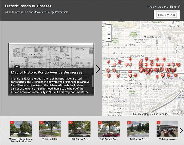 Screenshot of the map of historic Rondo businesses. The map has a large picture of the current address on the right, and text explaining the businesses on the left. Below are thumbnail-sized images of each address for additional navigation.