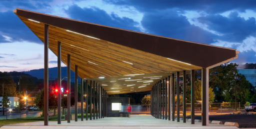 Dusk shot of pavilion with LED lighting integrated into the ceiling.